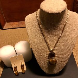 Monet Smokey Topaz Pendant Necklace and Earrings.